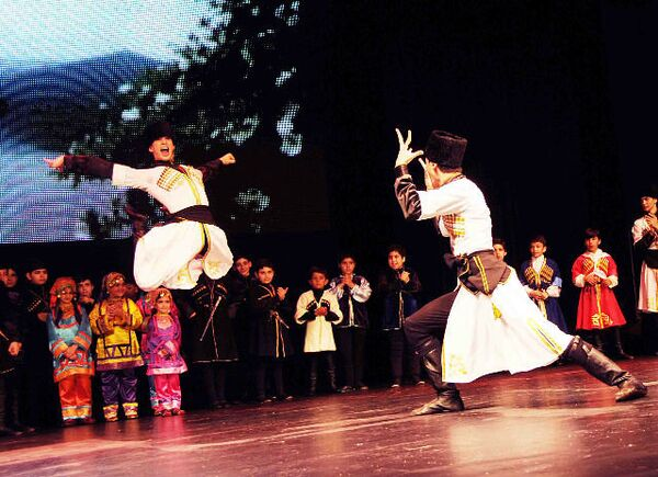 LezginkaNYC dancers wore full costumes when they performed at the Tribeca Theater in Manhattan in 2011. - Sputnik International