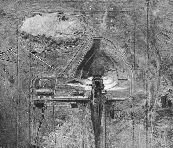 This photograph, taken during a 1957 U-2 flight, shows a missile launch pad in Nevada's Area 51. - Sputnik International