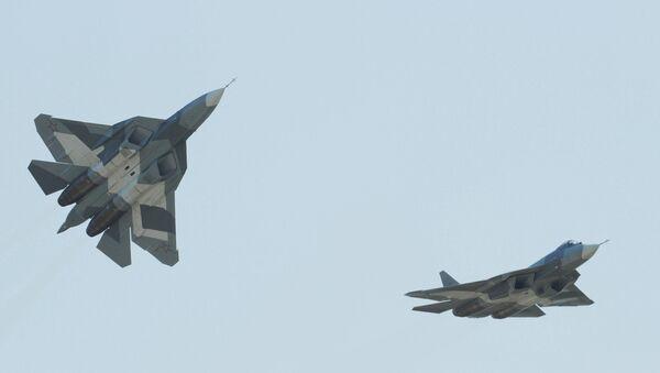Russian single-seat Sukhoi T-50 fifth-generation fighter - Sputnik International