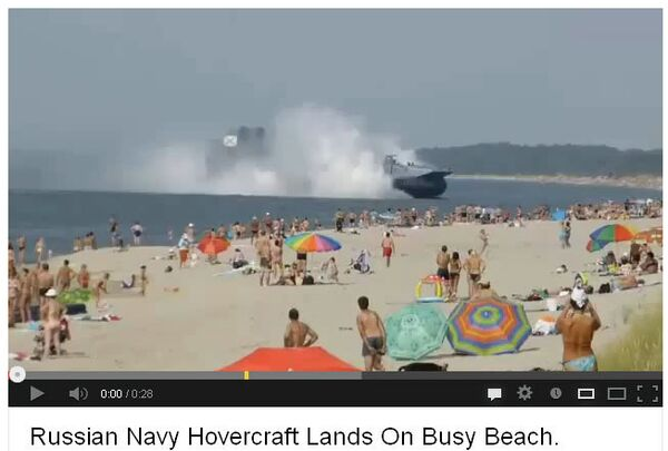 The video of a Russian Navy hovercraft landing on a busy beach in Kaliningrad was uploaded to YouTube. - Sputnik International