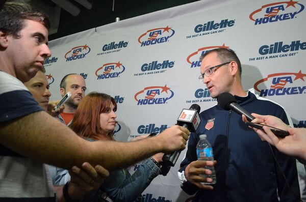 US men's Olympic ice hockey coach Dan Bylsma speaks to reporters at the launch in Arlington, Va. of the 2014 Olympic jersey. - Sputnik International