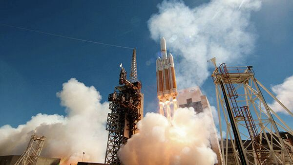 The Delta IV Heavy rocket launches into space Wednesday from the Vandenberg Air Force Base in California. - Sputnik International