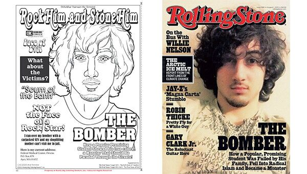 The back cover of US children's book publisher Really Big Coloring Books new comic (L) is a spoof of the 'Rolling Stone' magazine cover that stoked controversy in July. - Sputnik International
