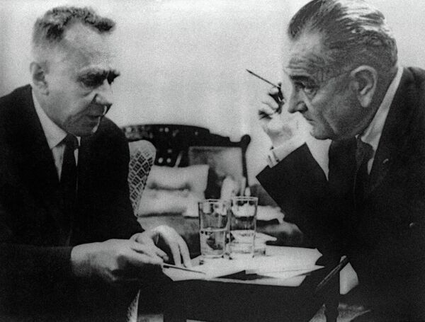 Soviet Premier Alexei Kosygin and US President Lyndon Johnson at the Glassboro Summit in June 1967. - Sputnik International