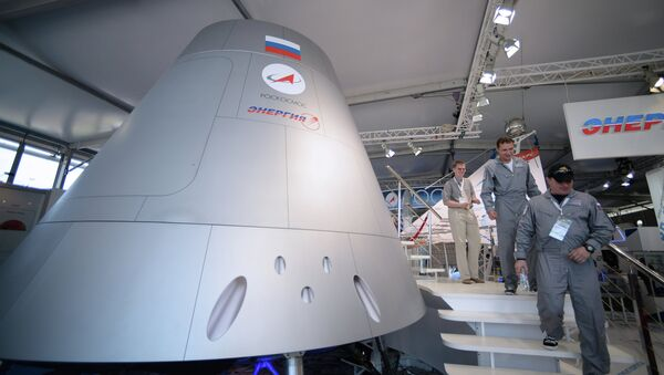 Full-scale model of a new-generation manned spacecraft showcased at the MAKS-2013 air show - Sputnik International