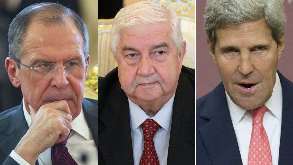 Russian Foreign Minister Sergei Lavrov, Syrian Foreign Minister Walid Muallem, US Secretary of State John Kerry - Sputnik International