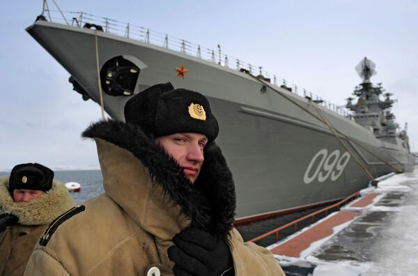The Russian task force is led by the heavy nuclear-powered guided-missile cruiser Pyotr Veliky (photo) - Sputnik International