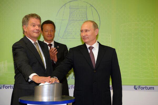 Vladimir Putin and Sauli Niinistö opening a gas-fueled power plant built by Finnish energy company Fortum - Sputnik International