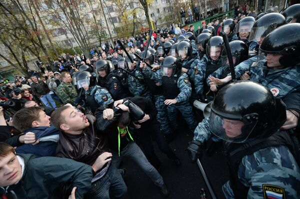 Protest over a killing in southern Moscow,  Oct. 13, 2013. - Sputnik International
