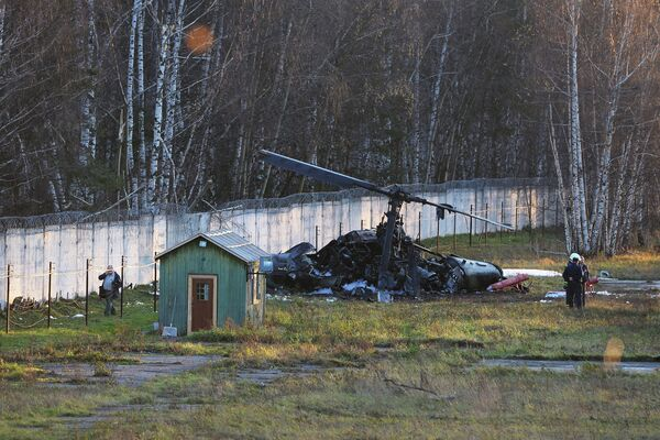 The crash site of a military helicopter in Moscow - Sputnik International