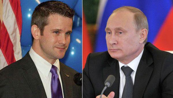US Rep. Adam Kinzinger and Russian President Vladimir Putin - Sputnik International