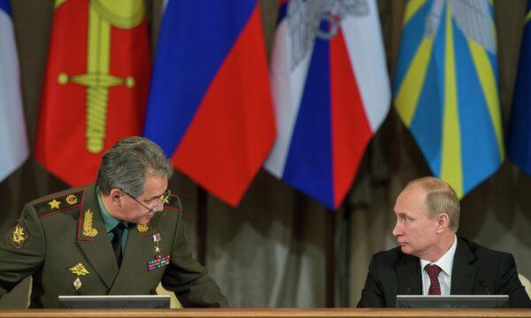 Sergei Shoigu and Vladimir Putin at a meeting of the country's top military leadership - Sputnik International