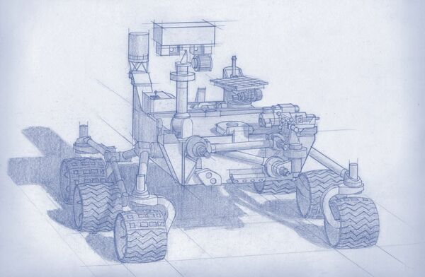A sketch of the NORD rover designed by Russia's Space Research Institute - Sputnik International