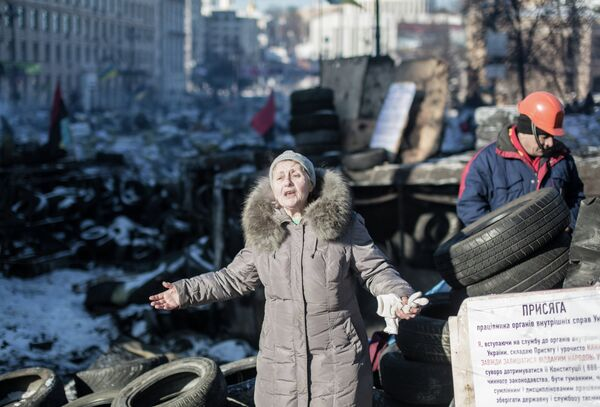 Situation in the streets in the centre of Kiev - Sputnik International