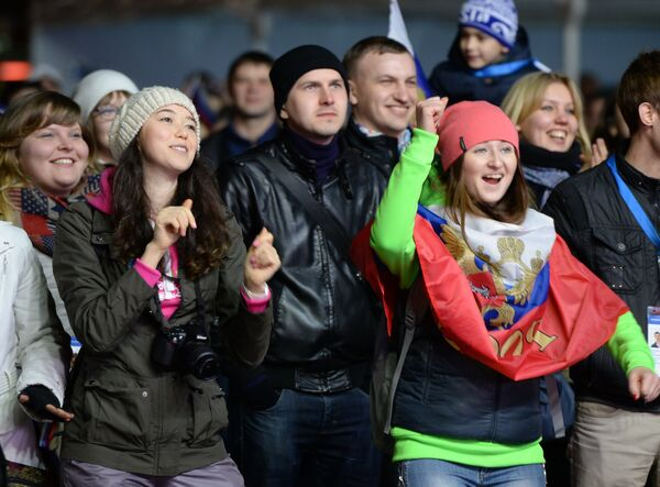 Spectators watching the opening ceremony of the Olympic Games in Sochi - Sputnik International