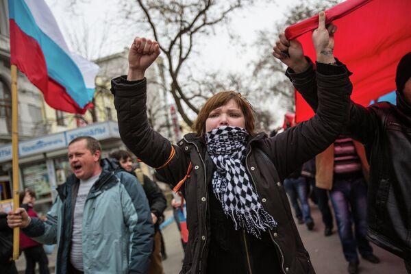 Pro-Russian protests in Simferopol, March 1, 2014 - Sputnik International