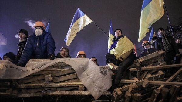 Supporters of Ukraine's integration with the EU on Maidan Square in Kiev (Archive) - Sputnik International