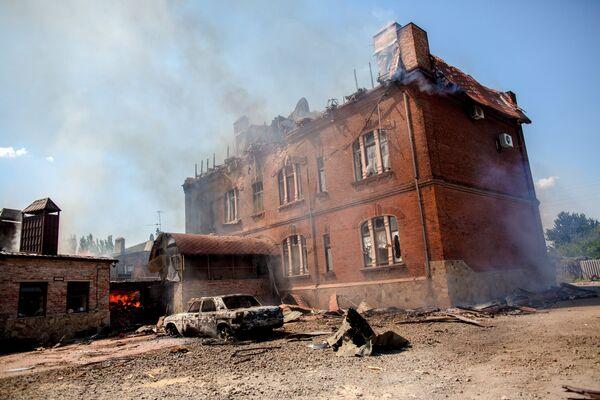 Consequences of a massive artillery attack on Slaviansk - Sputnik International