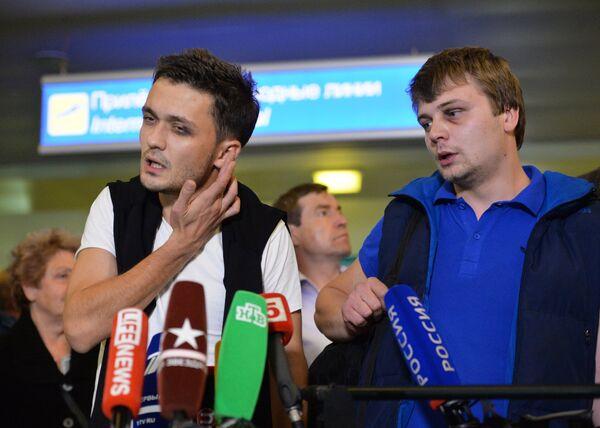 Zvezda TV channel correspondent Evgeny Davydov and sound engineer Nikita Konashenkov - Sputnik International