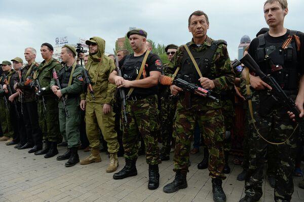 Donbass militia take oath of allegiance to the Donetsk People's Republic - Sputnik International
