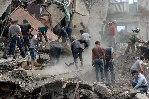 Building Destroyed by the Ukrainian Aviation, Donetsk Region - Sputnik International