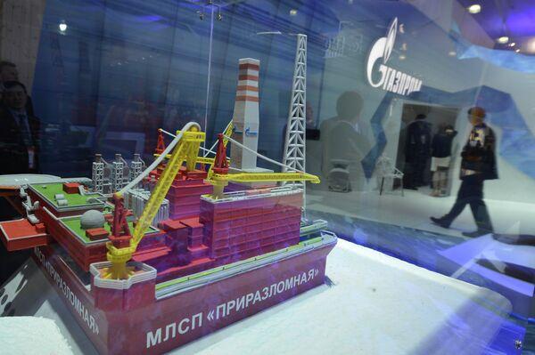 A model of the Prirazlomnaya platform provided by Gazprom Oil company. - Sputnik International