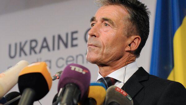 NATO Secretary General Anders Fogh Rasmussen speaks at a news conference in Kiev. - Sputnik International