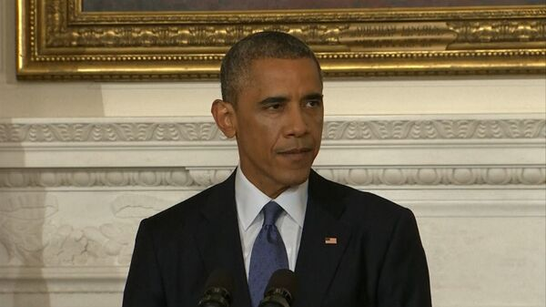 Obama explaining why he has approved targeted air strikes on IS militants . - Sputnik International
