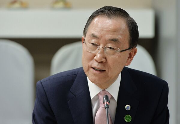 UN Secretary-General Ban Ki-moon said that the UN intends stop the transmission of the deadly Ebola virus in six to nine months - Sputnik International