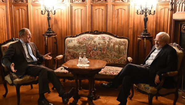 Russian Foreign Minister Sergei Lavrov has started a bilateral meeting with his Iranian counterpart Mohammad Javad Zarif at Palais Coburg in Vienna. - Sputnik International