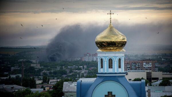 Fire during the shelling of Lugansk. - Sputnik International