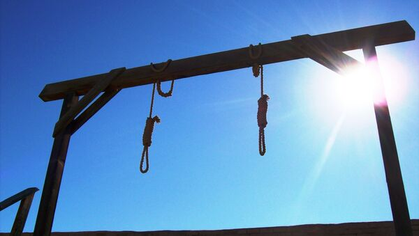 Two hangman's nooses and gallows behind the courthouse in Tombstone, Arizona (tombstone14xy) - Sputnik International