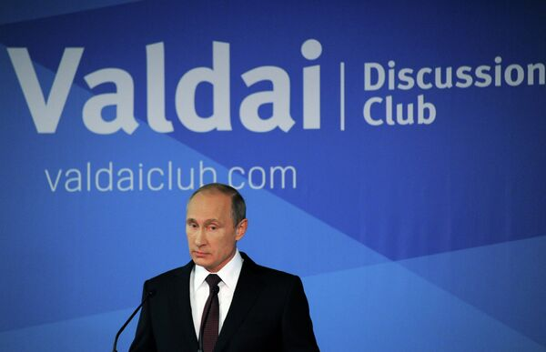 24 October 2014. Russian President Vladimir Putin speaks at the wrap-up session of the 11th Meeting of the Valdai Discussion Club in Sochi. - Sputnik International