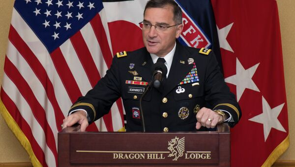 Gen. Curtis M. Scaparrotti, United Nations Command, Combined Forces Command, United States Forces Korea commander, recognizes the dedication and hard work put forth by the ROK and U.S. civilians of United States Forces Korea during the Civilian of the Year awards ceremony at the Dragon Hill Lodge on United States Army Garrison Yongsan, South Korea - Sputnik International